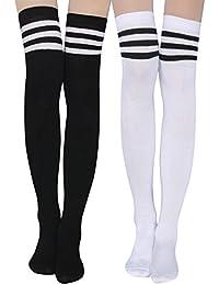 1ec3e931d2e Womens Stripe Knee-High Socks - Leg Warmer Dresses Knit High Stockings  Cosplay Socks