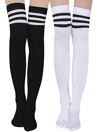 Womens Stripe Thigh High Socks - Leg Warmer Dresses Over Knee High Stockings Cosplay Socks