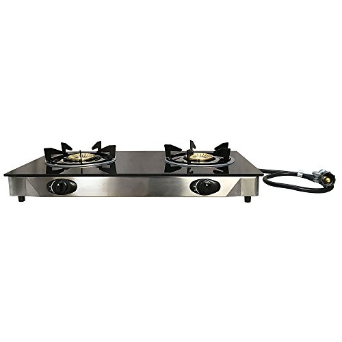 Double Steel Portable 2 Dual Burner Stove Range Propane Gas BBQ Tempered Glass Cooktop by PROLINEMAX