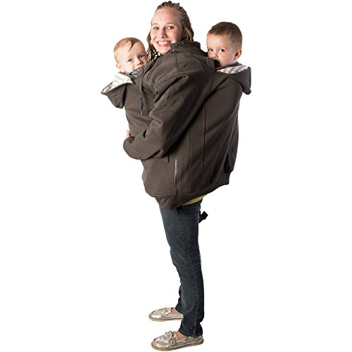 RooCoat Tandem Babywearing & Maternity Coat Charcoal with Gray Stripes Large Review