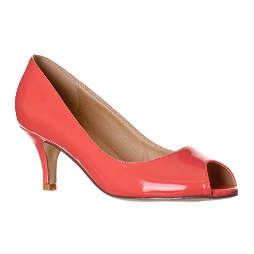 (Riverberry Women's Lydia Open, Peep Toe Kitten Heel Pumps, Coral Patent, 9)