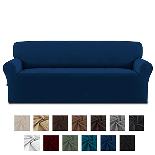Easy-Going Fleece Stretch Sofa Slipcover - Spandex Non-Slip Soft Couch Sofa Cover, Washable Furniture Protector with Anti-Skid Foam and Elastic Bottom for Kids, Pets(Sofa,Navy)