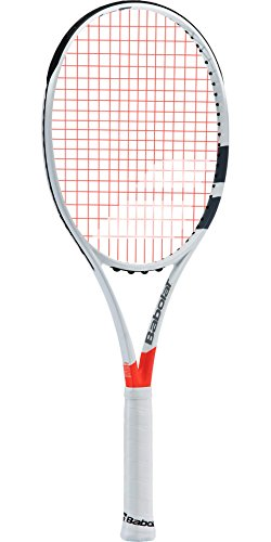 Babolat Pure Strike Team Grey / Orange Tennis Racquet (4″ Grip) Strung with Orange Tennis Racket String For Sale
