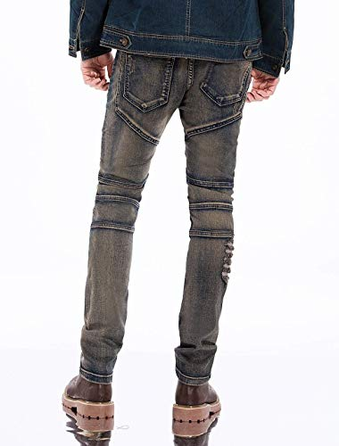 Casual Moda Retrograu Stretch Denim Strappati Da Fit Distrutti Pantaloni Moderna Jeans Vintage Slim Uomo ST0wOOPq