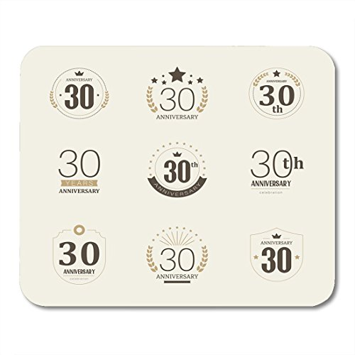 Boszina Mouse Pads 35Th Black Birthday Thirty Years Anniversary Celebration Logotype 30Th Collection Badge Old Mouse Pad for notebooks,Desktop Computers mats 9.5
