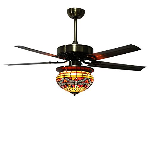 Makenier Vintage Tiffany Style Stained Glass Dragonfly Single-Light Lampshade Ceiling Fan Light Kit, with Metal Blades ()