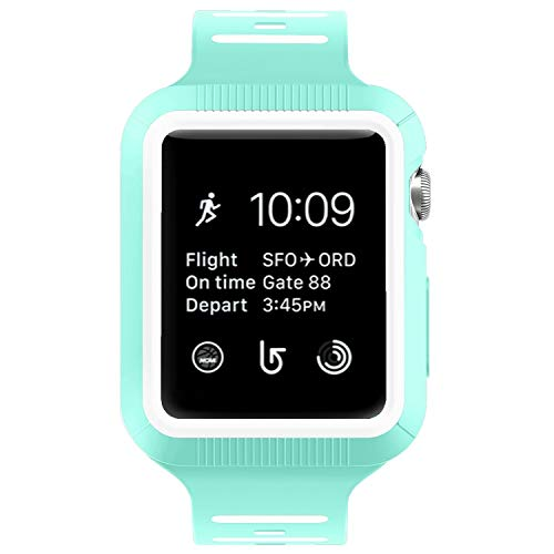BRG Compatible with Apple Watch Band with Case, Silicone Sport Watch Band with Shock-Proof Protective Case Compatible with Apple Watch Series 3 Series 2 Series 1,Sport and Edition 38mm