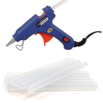 Wadro (SUPER/4K) 40W 40WATT Mini HOT MELT GLUE GUN (ON OFFSwitch & LED Indicator) With 5 Long Glue Sticks(7mm) (Blue)