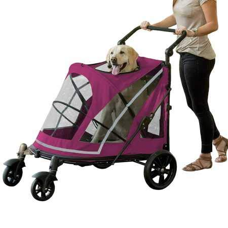 Pet Gear NO-Zip Stroller, Push Button Zipperless Dual Entry, for Single or Multiple Dogs/Cats, Pet Can Easily Walk in/Out, No Need to Lift Pet from Pet Gear