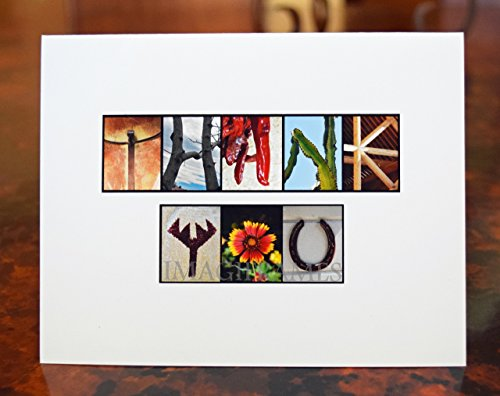 Southwestern Thank You Note Cards Alphabet Photo Letter Name Art, Boxed, Blank Inside by Imagiframes Name Art