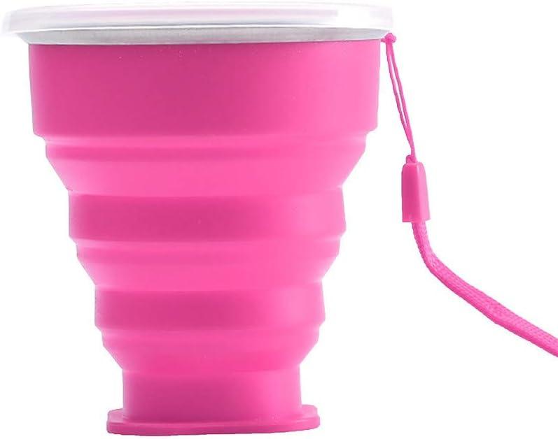Incassable Tasse Couleur Camping Pliable avec Couvercle sans Mug R/étractable en Silicone Gobelet Portable pour Cuisine Plage Pique-Nique/Tasse de Voyage Pliable en Silicone Tasse de Caf/é