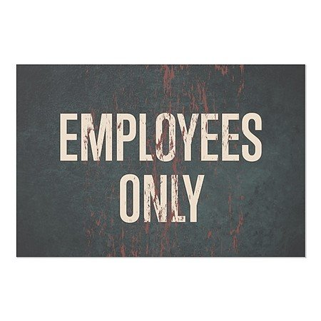 CGSignLab | ''Employees Only -Ghost Aged Rust'' Repositionable Opaque White 1st Surface Static-Cling Non-Adhesive Window Decal (5-Pack) | 36''x24'' by CGSignLab