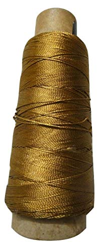 Desi Hawker 275+ Yards - Viscose Rayon Art Silk Thread Yarn - Embroidery Crochet Knitting Lace Jewelry Trim (Gold Metallic)