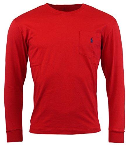 Polo Ralph Lauren Mens Long Sleeve Pocket Logo T-Shirt - M - Red