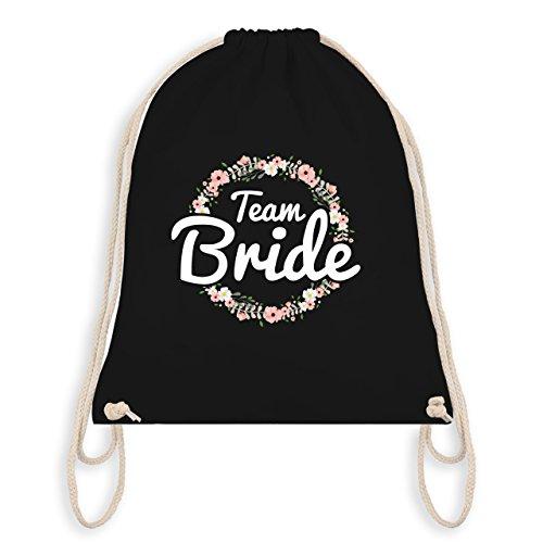 Shirtracer JGA Junggesellinnenabschied - Team Bride Blumenkranz - Turnbeutel I Gym Bag Schwarz