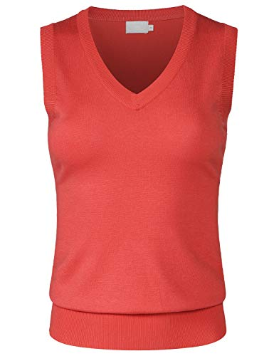 JSCEND Women's Solid Basic V-Neck Sleeveless Soft Stretch Pullover Sweater Vest Top Coral M