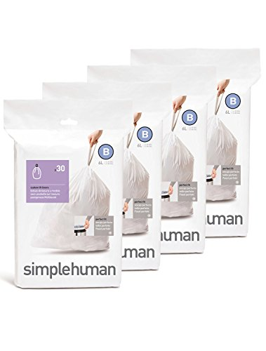 simplehuman Custom Fit Trash Can Liner B, 6 Liters / 1.6 Gallons, 30-Count (Pack of 4)