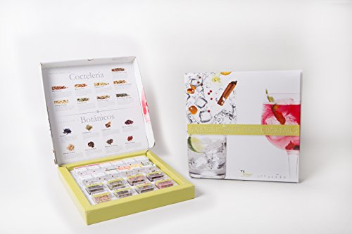 Té Tonic Gin & Tonic Partybox, 24 Infusions and 8 Botanicals for flavoring your Gin cocktail with spices, herbs and flowers, ideal gin gift box and comes with a helpful - Gin Dry Tanqueray