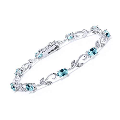 925 Sterling Silver 7 Inch Greek Vine Tennis Bracelet White Diamond Set with Ice Blue Topaz from Swarovski