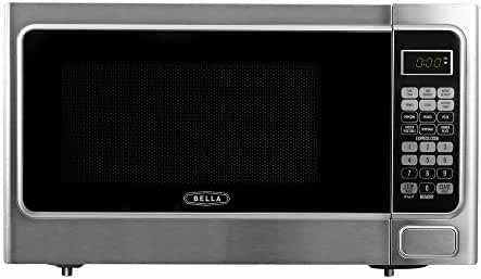 Bella 1.1 cu. ft. 1000-Watt Countertop Microwave Oven in Platinum with Stainless Steel