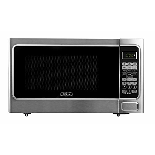 Bella 1.1 cu. ft. 1000-Watt Countertop Microwave Oven in Platinum with Stainless Steel by Bella