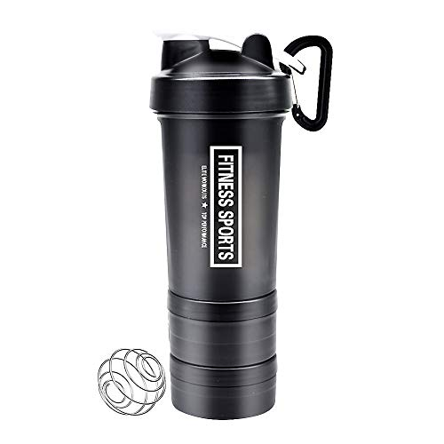 Powder Bottle Cup 1 - YIXIAN Protein Shaker Bottle 3 in 1 Portable Shaker Cup,100% BPA-Free Leak Proof Sport Mixer Fitness Sports Nutrition Supplements Non-Slip Mix Shaker Cup 17oz 500ml (Black)