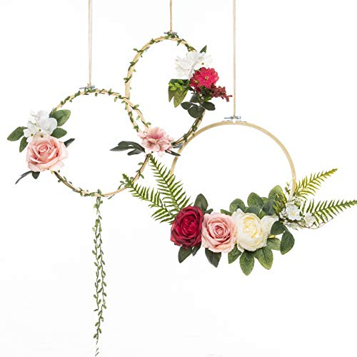 (UNIQOOO Set of 3 Floral Hoops Wreaths | Modern Chic Artificial Rose Peony Fern Flower Wall Hoop Garland | Perfect for Wedding Decor Bridal Shower Farmhouse Decoration Photo Prop Welcome Wreath)