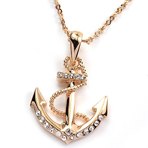 FC JORY 18k Rose Gold GP Diamante Crystal CZ Nautical Anchor (Men's Anchor Necklace)