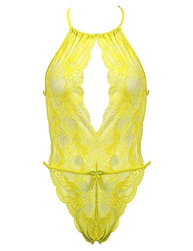 Amorbella Women's Sexy Halter Lingerie High Neck One Piece Teddy Lace Bodysuit (Yellow,Medium)