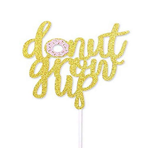 Junucubo Donut Grow Up Cake Topper Double Sided Glitter Donut Grow Decoration Birthday Party Baby Shower Kids Birthday Party Supplies (Double Sided)