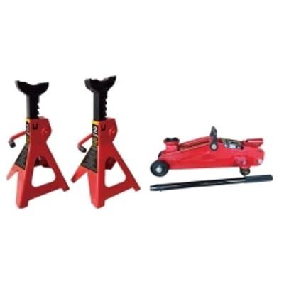 K-Tool International (KTI63097) 2 Ton Trolley Jack & Jack Stands (pair) Set