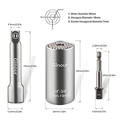 "Ginour Universal Socket, 3Pcs Multi-function Universal Socket Wrench 1/4""-3/4""(7-19mm), Chrome Vanadium Steel, Professional Repair Kit with Power Drill & Ratchet Wrench Adapter"