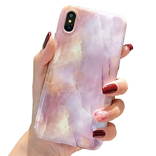iPhone Xs Max Case, Coral Marble [Glossy] Slim Shockproof Flexible TPU Bumper Case Fresh Personality Rubber Silicone Cover Compatible for Apple iPhone Xs Max 6.5 Inch ()