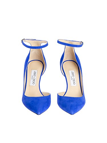 JIMMY CHOO donna lucy tacco 8.5 suede cobalt