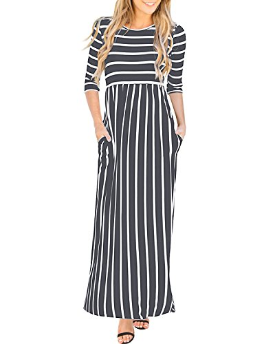 GIKING Women's Casual 3/4 Sleeve Striped Round Neck Pleated Long Maxi Dress with Pockets Gray 2XL