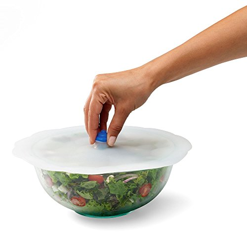 """Chef'n Cloud Cover Silicone Universal Lid for Pots, Pans and Bowls, High Heat Resistant, 11"""", Frost/Pacific"""