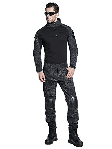 SINAIRSOFT US Army Uniform Shirt Pants with Knee Pads Tactical Combat Airsoft Hunting Apparel Camo BDU (Typhon,US M =Asian Tag XL)