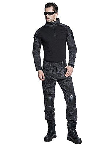 d1bada7aa2 SINAIRSOFT US Army Uniform Shirt Pants with Knee Pads Tactical Combat  Airsoft Hunting Apparel Camo BDU (Typhon,US M =Asian Tag XL)