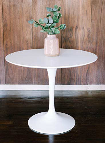 (Edloe Finch Mid-Century Modern Round Dining Table Tulip Pedestal Fiberglass Base 40 inch Diameter, White)