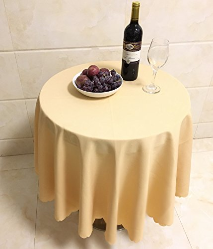 Zipway Round 100% Polyester Tablecloth 60 Inch, Champagne (For Tablecloth Side Round Table)