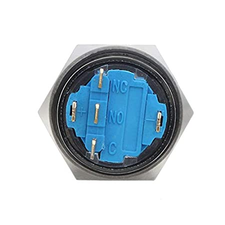 KingLan 12V 5 Pin 19Mm LED Metal Push Push Button Momentary Power Switch Interruttore Impermeabile Nero Verde