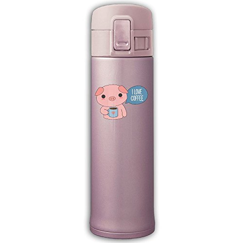[Cute Pig Drinking Coffee Stainless Steel Bottle Portable Cup Drink Hot Or Cold Water Bottle For Travelling Mug Camping Mug Fishing Car Driving 500ML] (The Jetson Family Costumes)