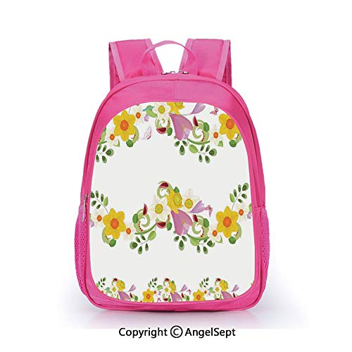 Casual Backpack Waterproof For Kindergarten Students,Horizontal Leaf and Flower Motifs Laurel Fairy Mother Earth Habitat Gardening Theme Multi,15.7inch,Backpack For Kids Water Resistance ()