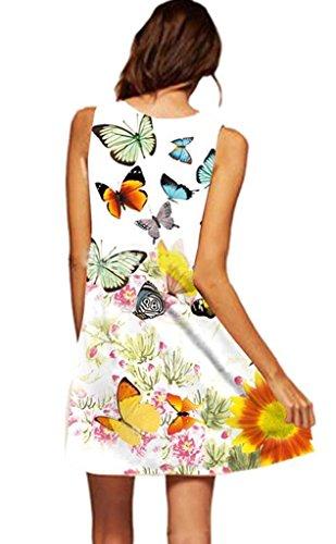 Robe Plage de Robe Papillon de t Dress Jupon Mini Crayon Femme Vest Fille Courte Robe Manche Soire Tunique Sans Minetom de 8nqaZxYRFw