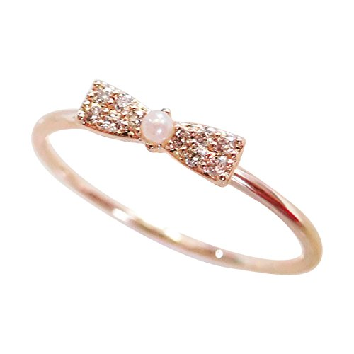 (Excelsia 'Charlotte' 14K Rose Gold-Plated Simulated Pearl Dainty Bow Ribbon Ring, Size)
