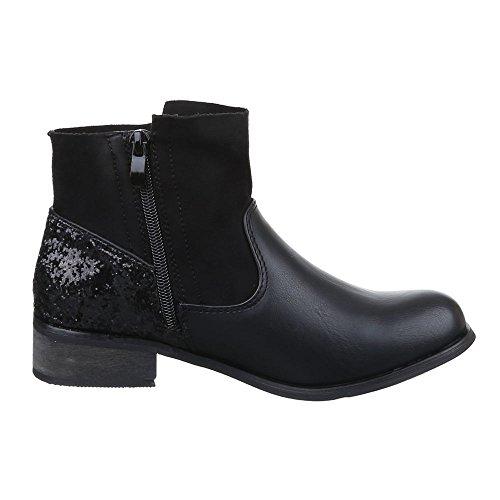 Ital-Design Damen Schuhe, C261, Stiefeletten Fransen Boots Schwarz