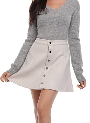 Argstar 여성용 Faux 스웨이드 버튼 클로져 A-Line Mini Short Skirt/Argstar Women`s Faux Suede Button Closure A-Line Mini Short Skirt