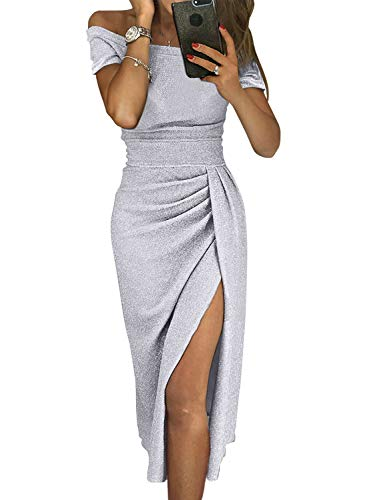 Cocktail Wedding Dress Gown - HUUSA Sexy Prom Cocktail Sequin Dresses Party for Womens Formal Wedding Evening Gowns Metallic Short Sleeve Elegant Dress X-Large Grey