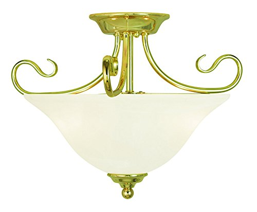 Livex Lighting 6121-02 Coronado 2 Light Ceiling Mount, Polished Brass