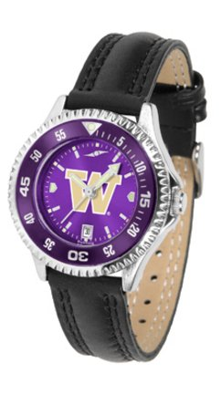 Washington Huskies Competitor Ladies AnoChrome Watch with Leather Band and Colored Bezel
